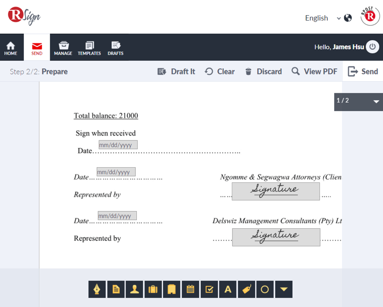 RSign's template feature