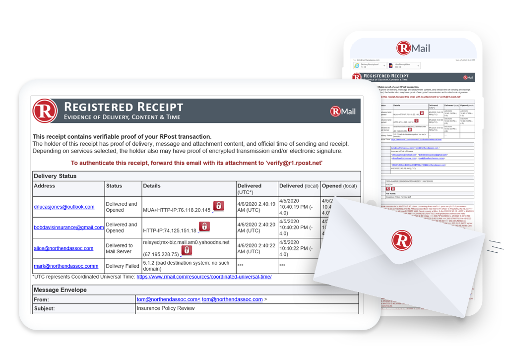 Registered Email certified email proof of delivery