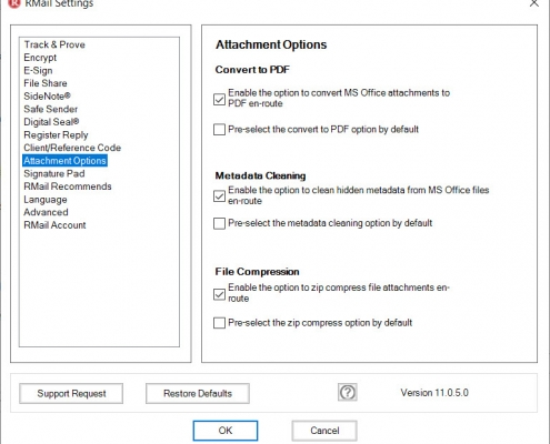RMail for Outlook Option Attachment Options