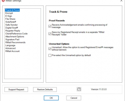 RMail for Outlook Option Track and Prove