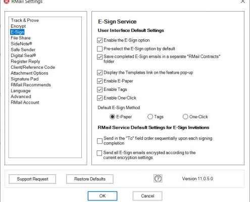 RMail for Outlook Option ESign