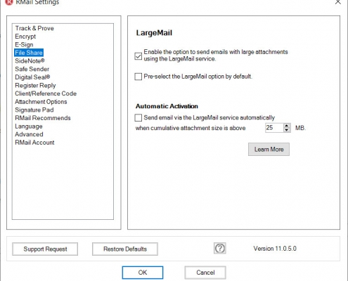 RMail for Outlook Option FileShare