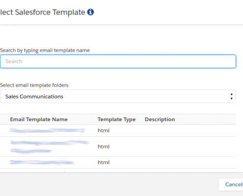 RMail for Salesforce Template Selection