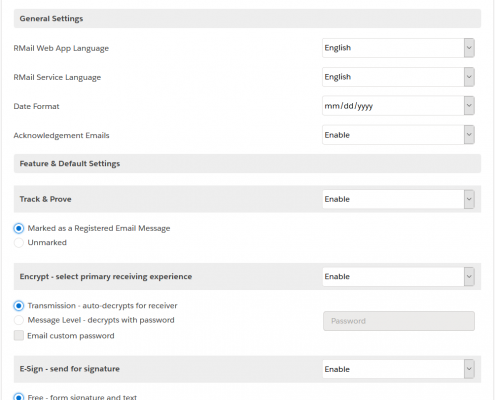RMail for Salesforce Settings