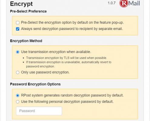 RMail for Gmail - Encrypt Settings