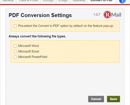 RMail for Gmail - PDF Convert Settings
