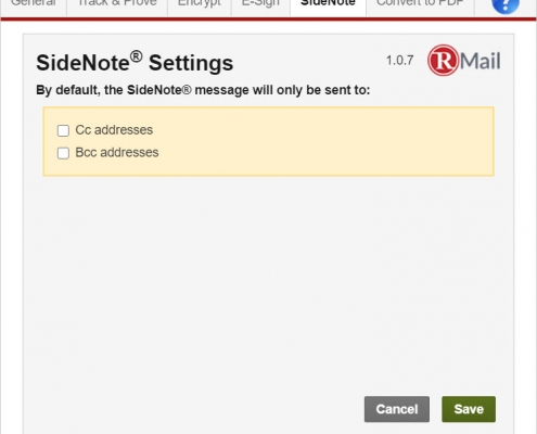 RMail for Gmail - SideNote Settings