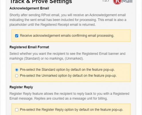 RMail for Gmail - Track and Prove Settings