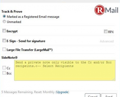 RMail for Zimbra Compose Secure Email Options Menu