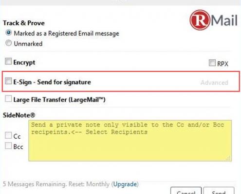 RMail for Zimbra Send for E-Signature