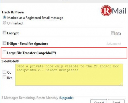 RMail for Zimbra File Share to Send Large Files Securely