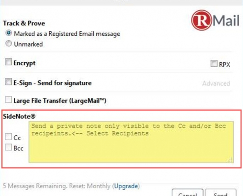 RMail for Zimbra Send Private SideNote Message