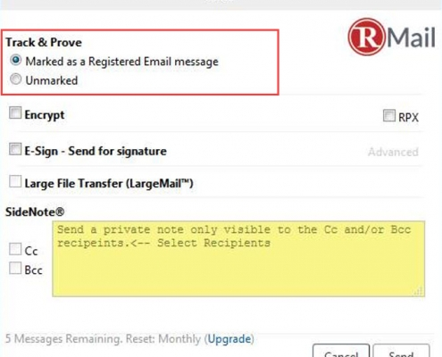 RMail for Zimbra Compose Registered Email Certified Email Proof of Delivery