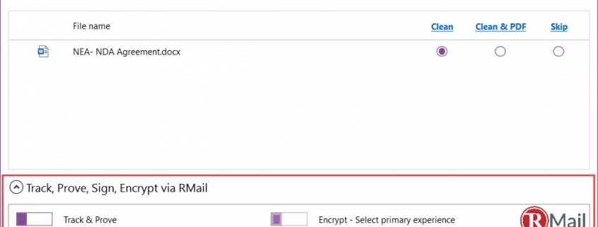 RMail for cleanDocs - Feature Popup
