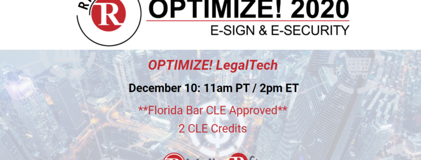 Final Optimize! Webinar of 2020 Promises Important New LegalTech Insights