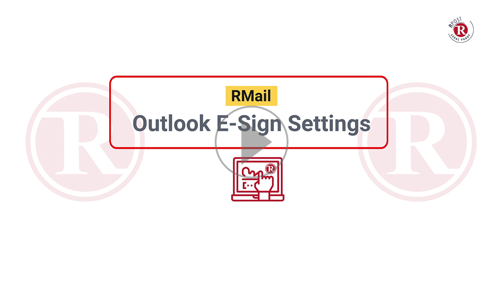 RMail Outlook E-Sign Settings