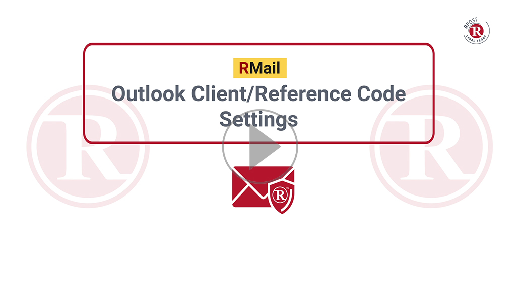 RMail Outlook Client Reference Code Settings